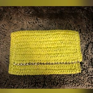 Yellow knitted H&M clutch